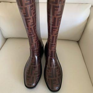 Fendi Rubber Zucca Knee-Hi Boots In Brown/Black 8